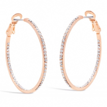 Crystal Rose Gold Plated Hoop Earrings